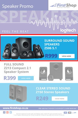 First Shop : Logitech Speakers (19 Apr - 30 Apr 2017), page 1