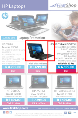 First Shop : HP Laptops (1 July - 31 July 2017), page 1