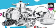 Tissolli 21 Piece Stainless Steel Cookware Set-Per Set