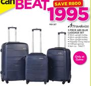 TravelWize 3 Piece ABS Blue Luggage Set-Per Set
