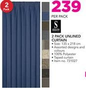 Sheraton 2 Pack Unlined Curtain-Per Pack