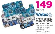 Waltex 2 Piece Luxury Foam Printed Bath Mat Set-Per Set