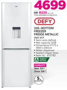 Defy 328Ltr Bottom Freezer Fridge Metallic DAC 517