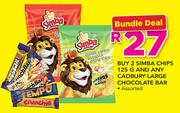 2 Simba Chips-125g & Any Cadbury Large Chocolate Bar Assorted