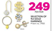 Selection Of 9ct Gold Earrings-Per Pair