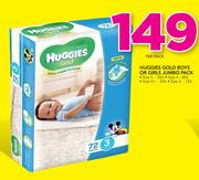 Huggies Gold Boys Or Girls Jumbo Pack Size 5-50's,Size 4-60's,Size 4+-54's,Size 3-72's-Per Pack