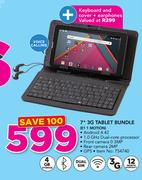 "7"" 3G Tablet Bundle E1 1 MOTION With Keyboard And Cover+ Earphones"
