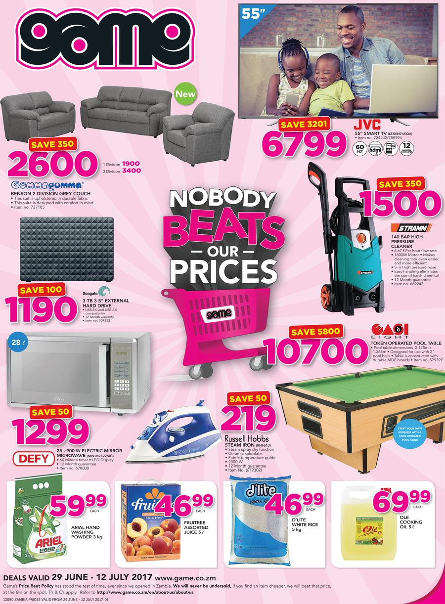 Game Zambia : Nobody beats Our Prices (29 June - 12 July 2017, page 1