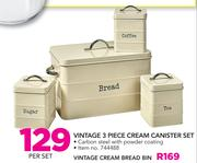 Vintage 3 Piece Cream Canister Set