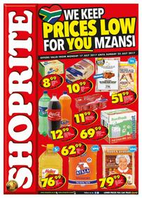 Shoprite KZN : Prices Low (17 Jul - 23 Jul 2017), page 1