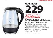 Sunbeam 1.7Ltr Designer Cordless Glass Kettle SDGK-170