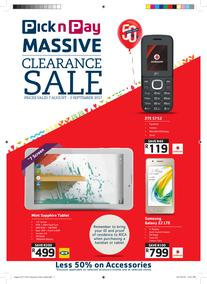 Pick n Pay : Massive Cellular Deals (07 Aug - 03 Sep 2017), page 1