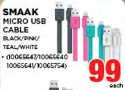 Smaak Micro USB Cable Black/Pink/Teal/White-Each