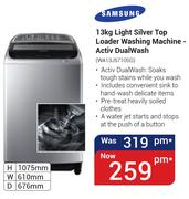 Samsung 13Kg Light Silver Top Loader Washing Machine(Activ Dualwash)-WA13J5710SG