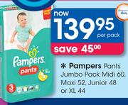 Pampers Pants Jumbo Pack Midi-60's/Maxi-52's/Junior-48's or XL-44's Pack-Per Pack