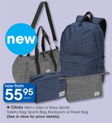 Clicks Men's Grey Or Navy Sporty Toiletry Bag, Sports Bag, Backpack Or Travel Bag-Each