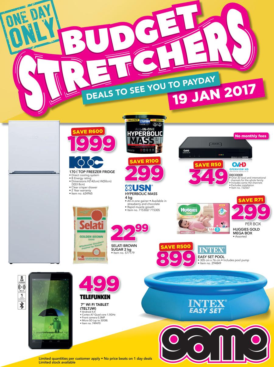 Game : Budget Stretchers (19 Jan 2017 Only)