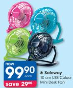 Safeway 10Cm USB Colour Mini Desk Fan-Each
