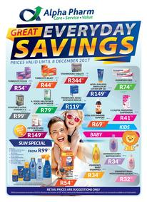 Alpha Pharm :  Great Everyday Savings (25 Oct - 08 Dec 2017), page 1