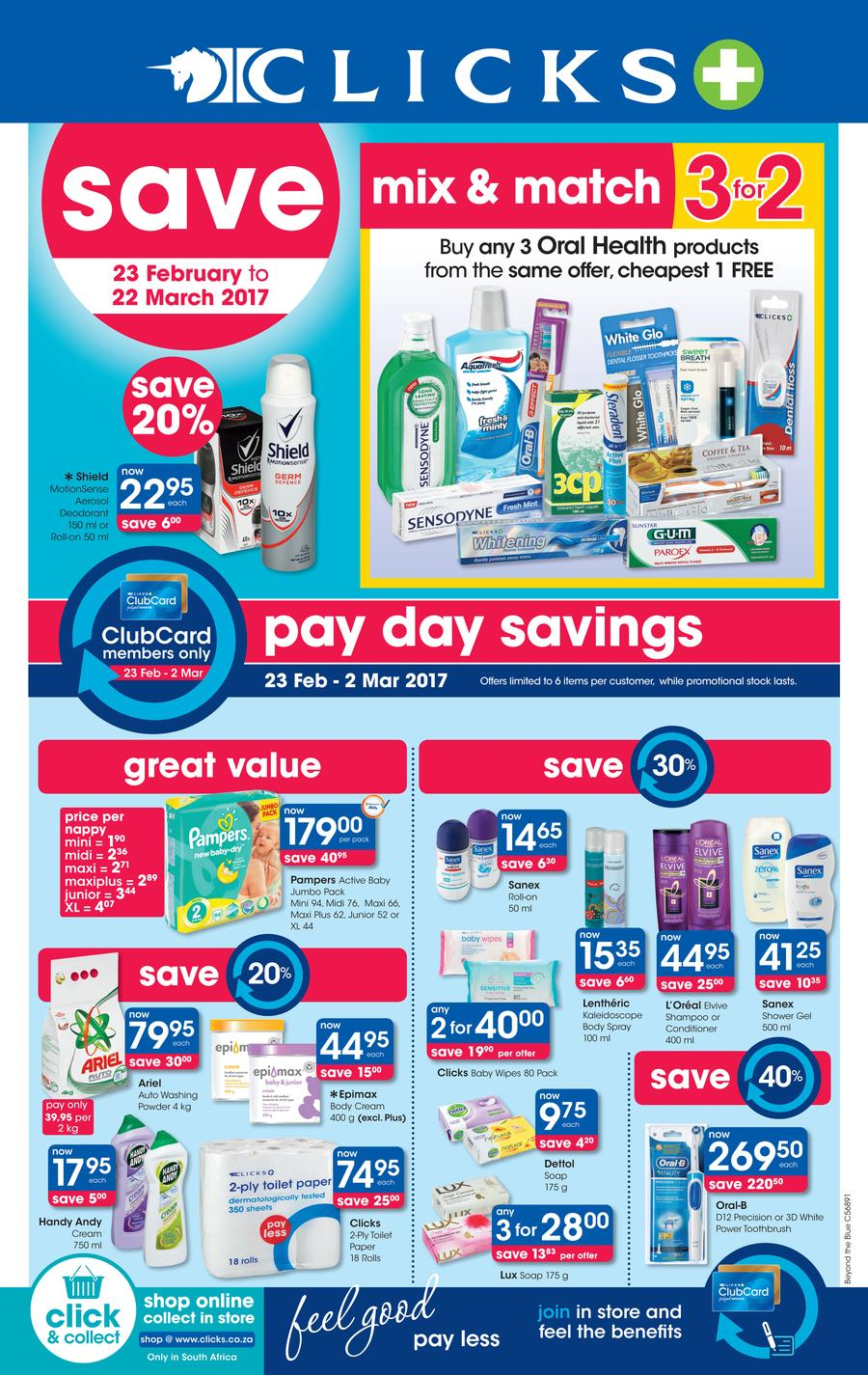 Clicks : Pay Day Savings (23 Feb - 22 Mar 2017)