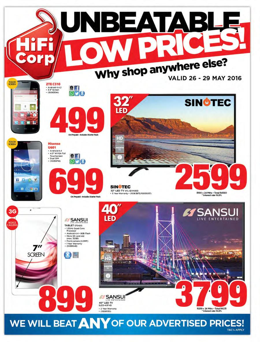Hifi Corp : Unbeatable Low Prices (26 May - 29 May 2016)