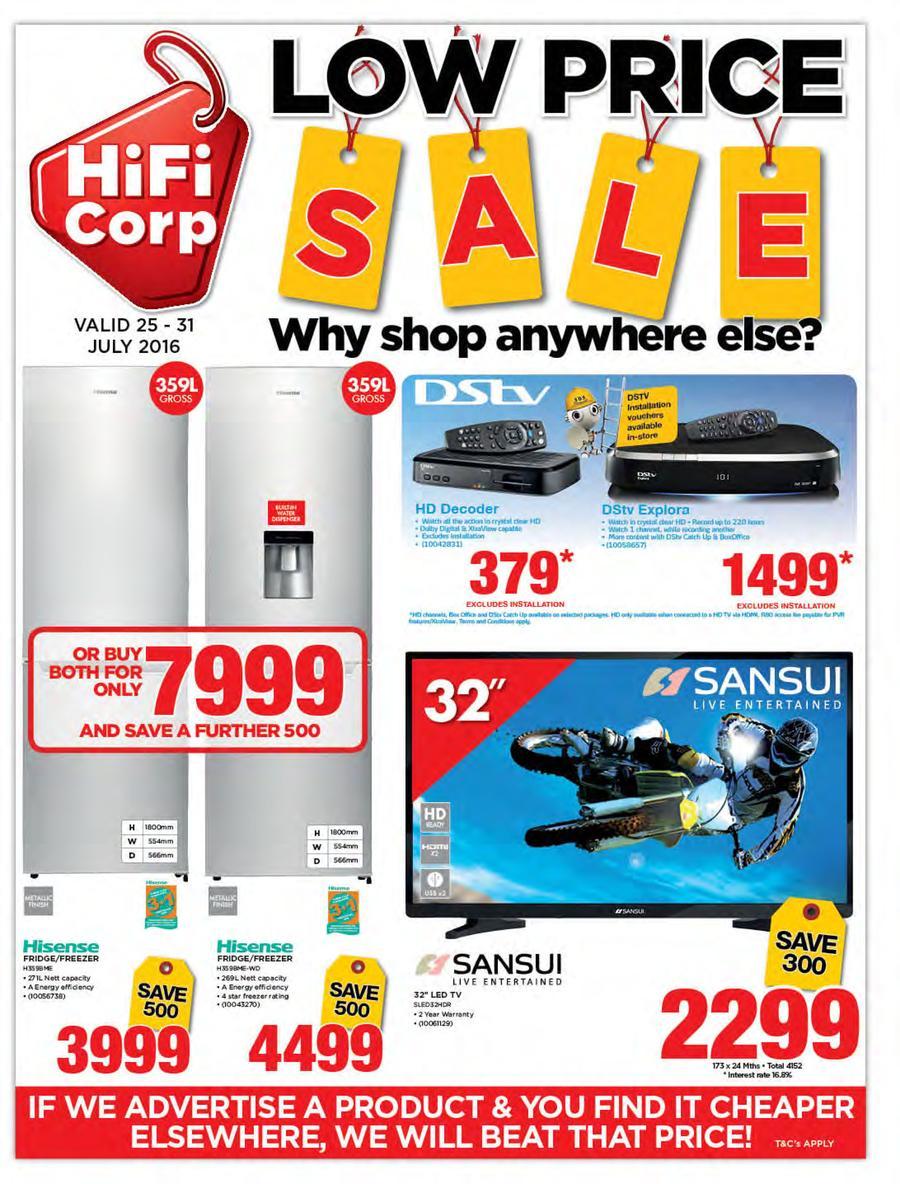 HiFi Corp : Low Price Sale (25 Jul - 31 Jul 2016)