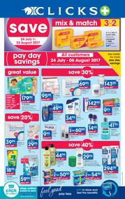 Clicks : Pay Day Savings (24 July - 23 Aug 2017), page 1