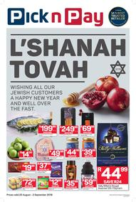 Pick n Pay Eastern Cape : L'Shanah Tovah To All Our Jewish Customers (20 Aug - 02 Sep 2018), page 1
