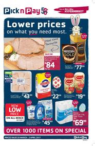 Pick n Pay Eastern Cape : Lower Prices On What You Need Most (20 Mar - 02 Apr 2017), page 1