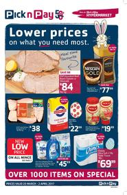 Pick n Pay : Lower Prices On What You Need Most (20 Mar - 02 Apr 2017), page 1