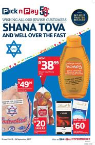 Pick n Pay : Shana Tova To All Our Jewish Customers (05 Sep - 24 Sep 2017), page 1