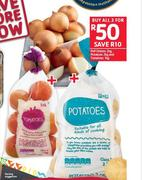 PnP Onions-2Kg, Potatoes-2Kg & Tomatoes-1Kg-All For 3