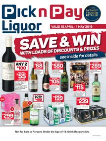 Pick n Pay Liquor : Save And Win (15 Apr - 1 May 2019), page 1