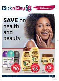 Pick n Pay : Save On Health And Beauty (25 Apr - 07 May 2017), page 1