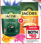 Jacobs Kronung 3 In 1 Instant Coffee Stick 10's And 75g Refill-For Both