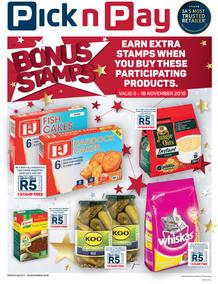 Pick n Pay : Bonus Stamps (05 Nov - 18 Nov 2018), page 1