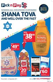 Pick n Pay KZN : Shana Tova To All Our Jewish Customers (05 Sep - 24 Sep 2017), page 1