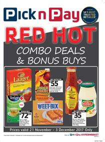 Pick n Pay KZN : Red Hot Combo Deals And Bonus Buys (21 Nov - 03 Dec 2017), page 1