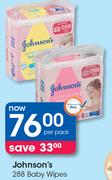 Johnson's 288 Baby Wipes-Per Pack