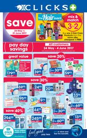 Clicks : Pay Day Savings (24 May - 21 June 2017), page 1