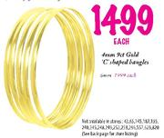 9ct Gold C Shaped Bangles-4mm Each