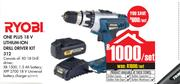Ryobi One Plus 18V Lithium Ion Drill Driver Kit 312-Per Set