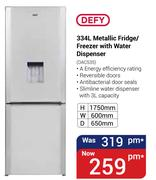 Defy 334Ltr Metallic Fridge/Freezer With Water Dispenser DAC535