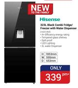 Hisense 323Ltr Black Combi Fridge/Freezer With Water Dispenser H420-BMI