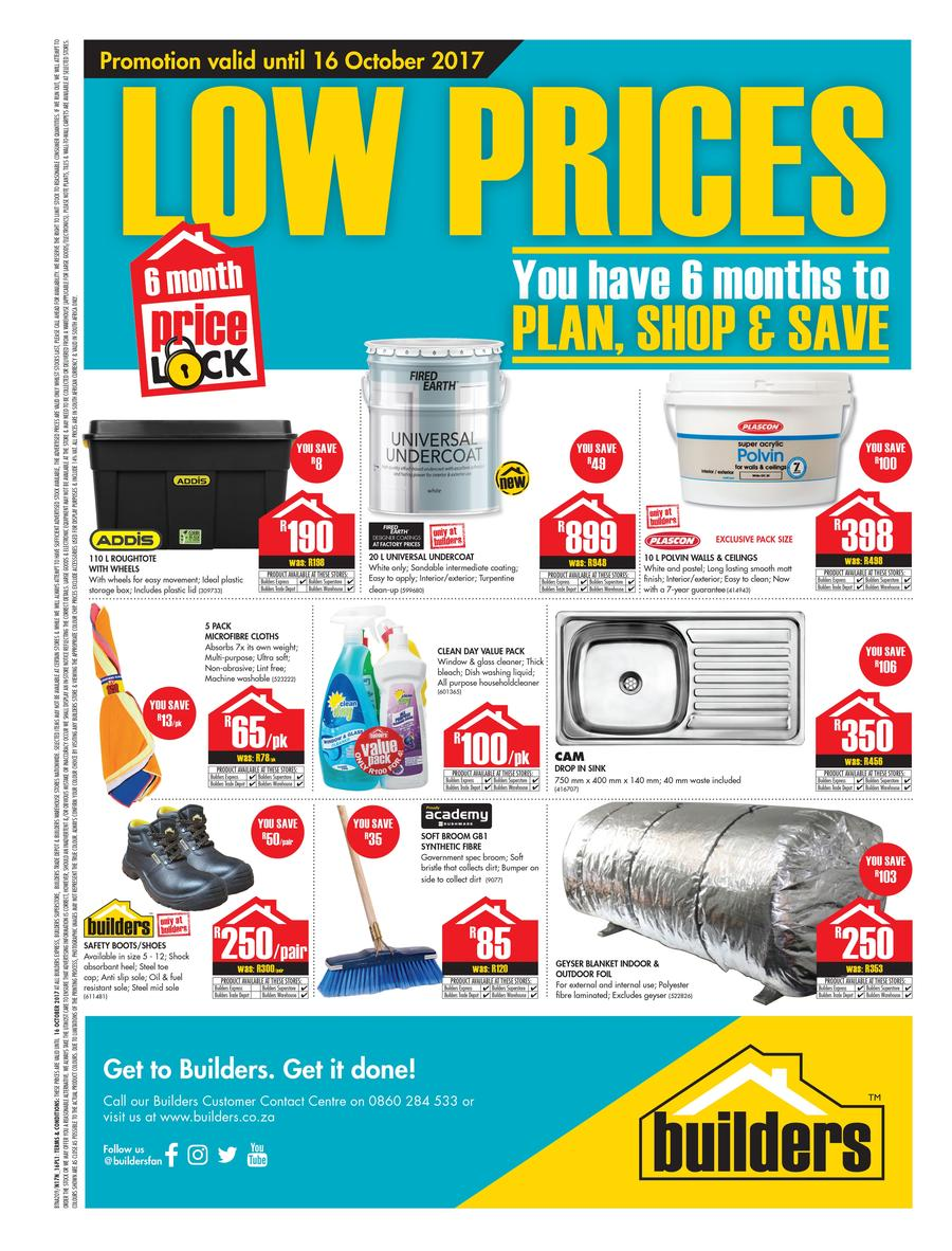 Builders : Low Prices (22 Aug - 16 Oct 2017)