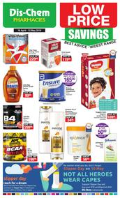 Dis-Chem : Low Price Savings (18 Apr - 12 May 2019), page 1