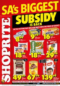 Shoprite : Subsidy Promotion (15 Oct - 18 Nov 2018), page 1