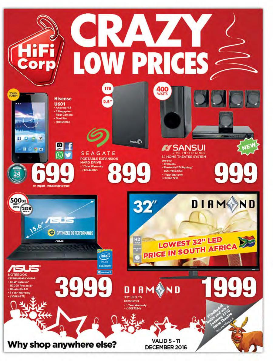 HiFi Corp : Crazy Low Prices (5 Dec - 11 Dec 2016)
