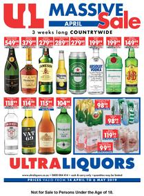 Ultra Liquors : Massive April Sale (14 Apr - 06 May 2019), page 1