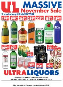 Ultra Liquors : Massive November Sale (13 Nov - 26 Nov 2018), page 1